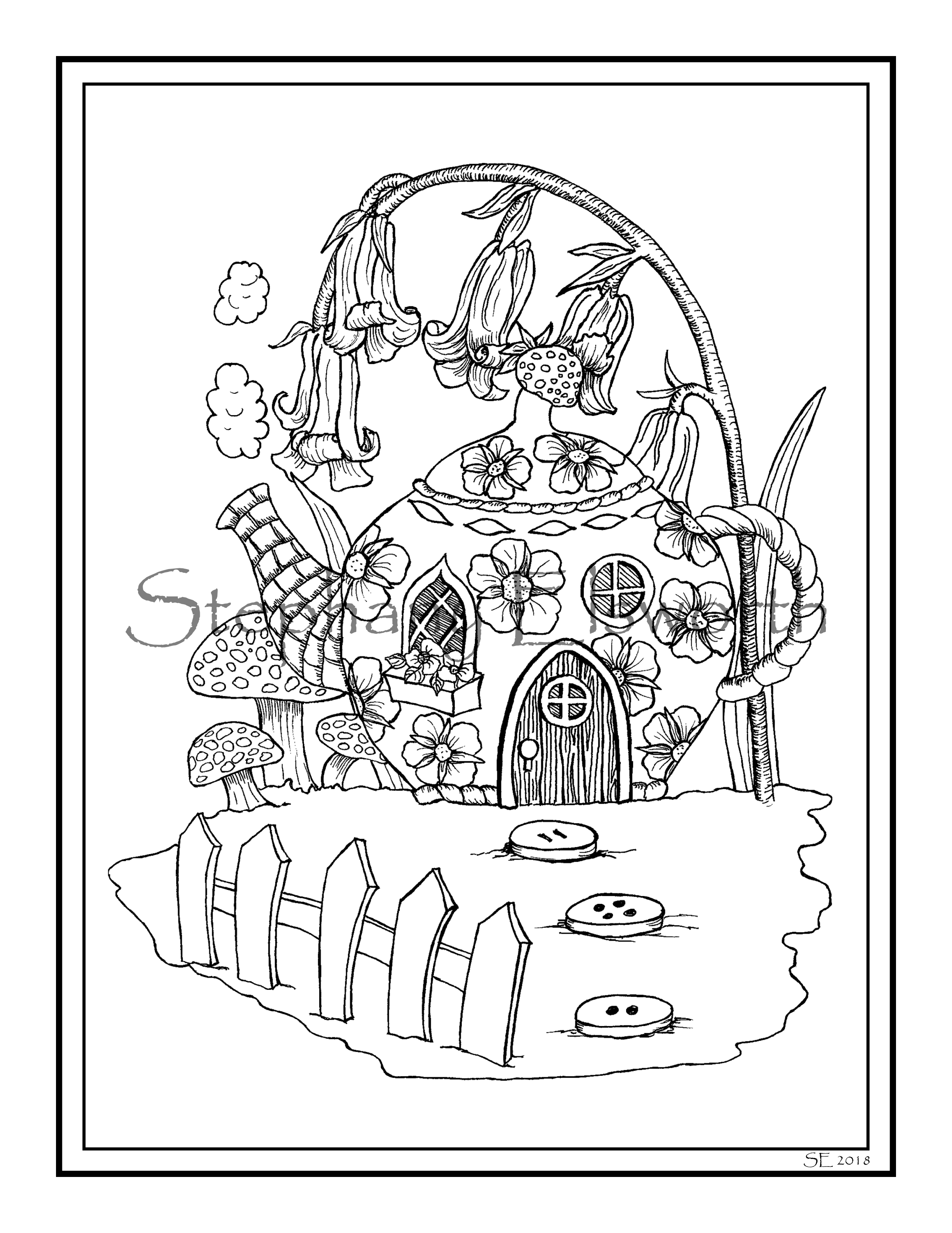 Teapot Cottage Fairy House 8 1/2 x 11 Printable Instant ...