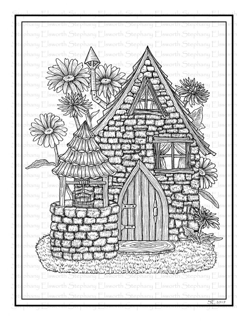 Saltbox and Wishing Well Printable Fairy House Coloring Page